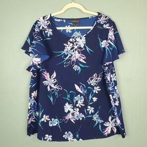 Lane Bryant Floral Scoop Neck Short Sleeve Size 20